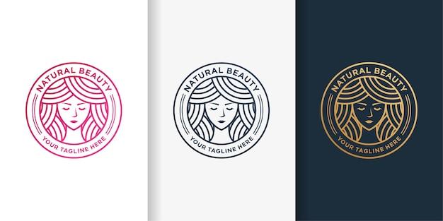 Logo kobiety ze złotym emblematem urody linii stylu sztuki i szablonu projektu wizytówki