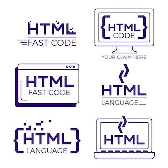 Logo kodu ustawione płaska konstrukcja