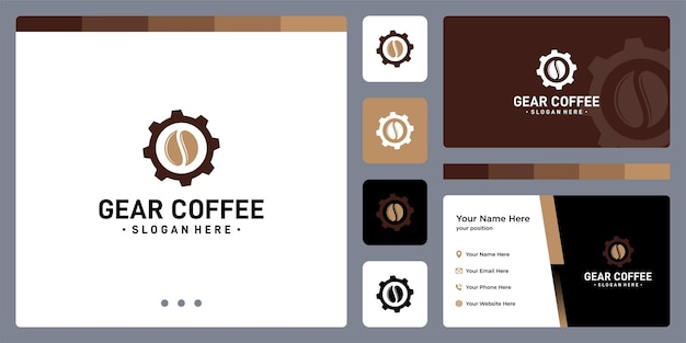 Logo koła zębatego i kształt ziaren kawy. projekt wizytówki.