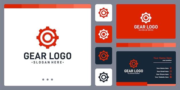 Logo koła zębatego i początkowe logo litery c. szablon projektu wizytówki.