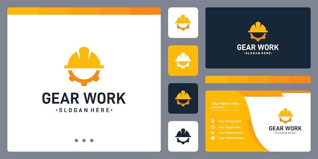 Logo koła zębatego oraz kształt kapelusza robotnika budowlanego. wizytówka.