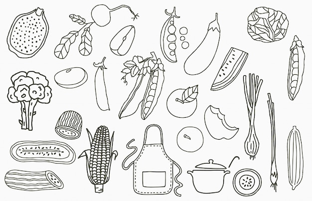 Logo kolekcji owoców jabłko cebula cytryna ogórek ilustracja wektorowa ikona logo naklejki naklejki do druku