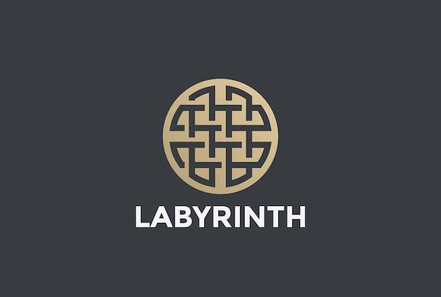 Logo Koło Labiryntu Labirynt. Premium Wektorów
