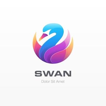 Logo kolorowe łabędź