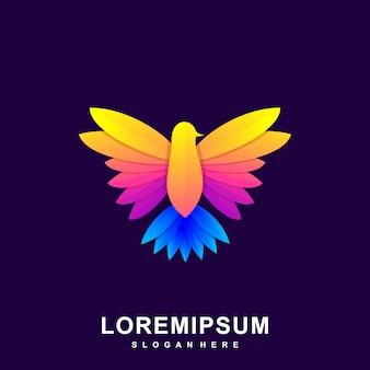 Logo kolorowe streszczenie ptak premium