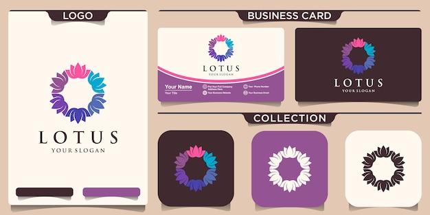 Logo kolorowy kwiat lotosu z projektem wizytówki