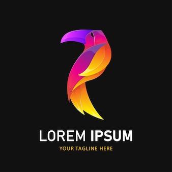Logo kolorowy ptak tukan. szablon logo stylu gradientu