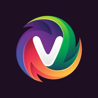 Logo kolorowy streszczenie koło v.