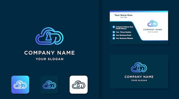 Logo kombinacji blokady chmury i projekt wizytówki