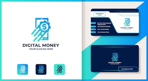 Logo kombinacji koła zębatego inteligentnego telefonu, projekt inspiracji dla cyfrowych pieniędzy lub inteligentnych pieniędzy