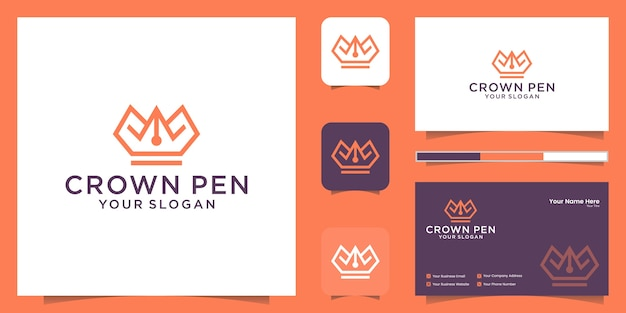 Logo kombinacji korony i pióra ze stylem linii i inspiracją do wizytówek