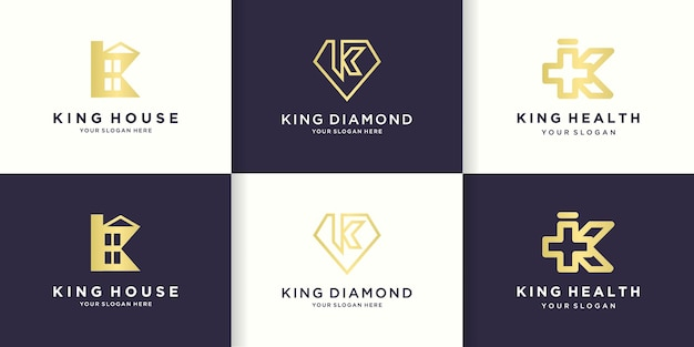 Logo kombinacji litery k z domem, diamentem i zdrowiem