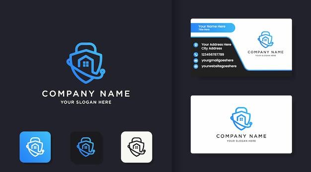 Logo kombinacji zamka tarczy i projekt wizytówki
