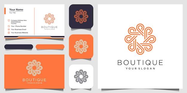 Logo koncepcja koło ornament w stylu sztuki linii. koło nieskończoności symbol zaokrąglone ornament monogram logo. projekt wizytówki