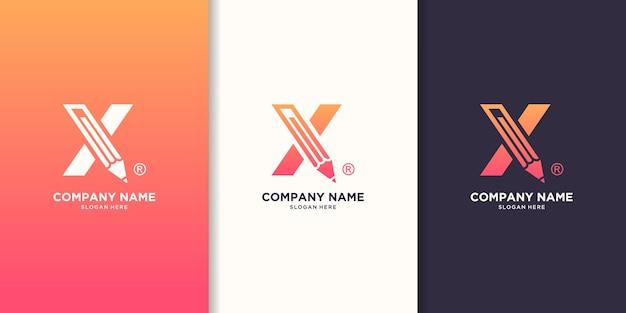 Logo koncepcja litery x pióro