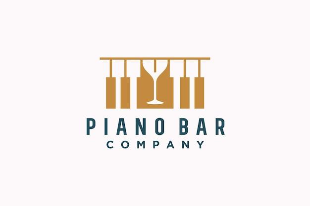 Logo koncepcji baru muzycznego z pianinem i winem
