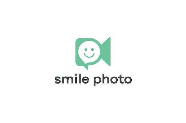 Logo koncepcji nagrywania wideo z uśmiechniętymi ludźmi