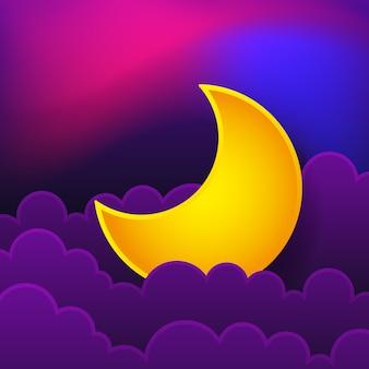 Logo koncepcji nocnej. dobranoc. ilustracja
