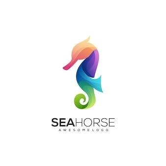 Logo konika morskiego kolorowy gradient ilustracji