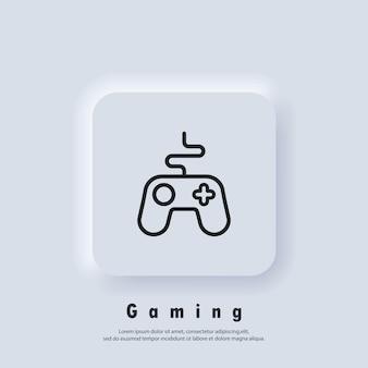 Logo konsoli do gier. ikona linii kontrolera gier. ikony joysticka. kontroler. wektor. ikona interfejsu użytkownika. biały przycisk sieciowy interfejsu użytkownika neumorphic ui ux. neumorfizm