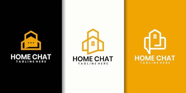 Logo konsultingowe niebieskiego domu, dom z bąbelkowym czatem. projekt logo i wizytówek