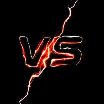 Logo kontra vs. szablon nagłówka bitwy. błyskotliwy design błyskawicy.
