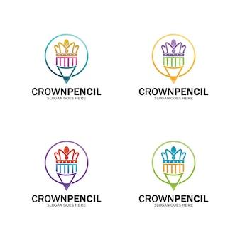Logo korony ołówka, szablon logo króla ołówka. projekt-wektor