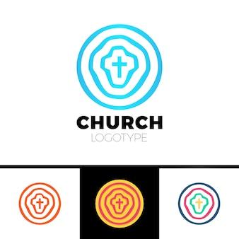 Logo kościoła. symbole chrześcijańskie. koła, cel i krzyż jezusa.