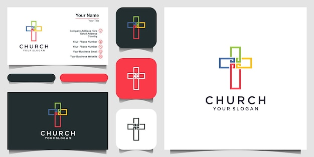 Logo kościoła. symbole chrześcijańskie. kolorowanie krzyża jezusa.