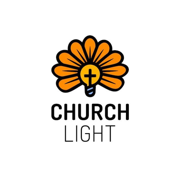 Logo kościoła z krzyżem, żarówką i kwiatem.
