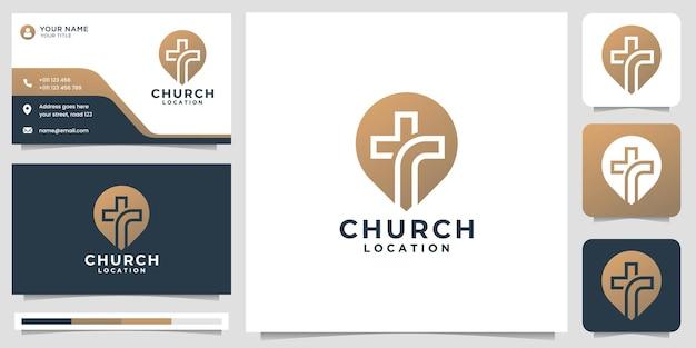Logo kościoła ze stylem znacznika pinów i projektem wizytówkipremium vector