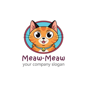 Logo kota z zabawnymi wyrazami twarzy