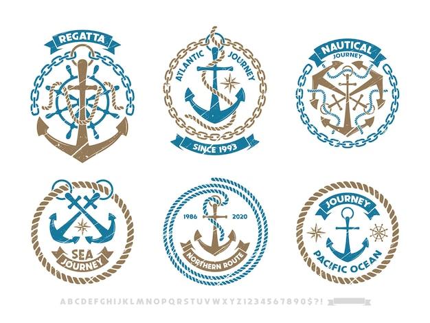 Logo kotwicy, emblemat żeglarski. zestaw