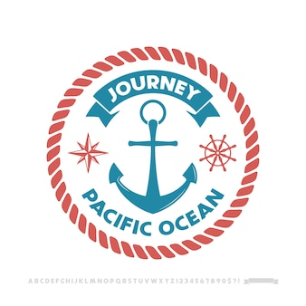 Logo kotwicy, emblemat żeglarski.