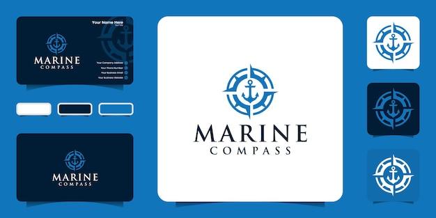 Logo kotwicy i kompasu do logo morskiego i wizytówki