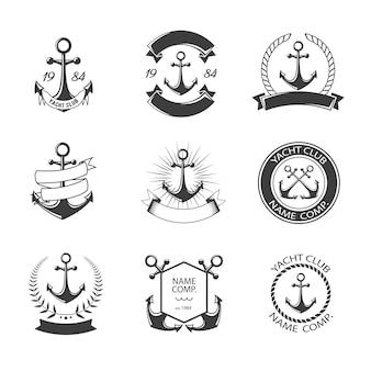 Logo kotwicy i zestaw klubu jachtowego