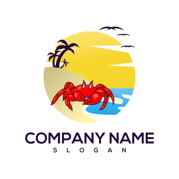 Logo kraba na plaży