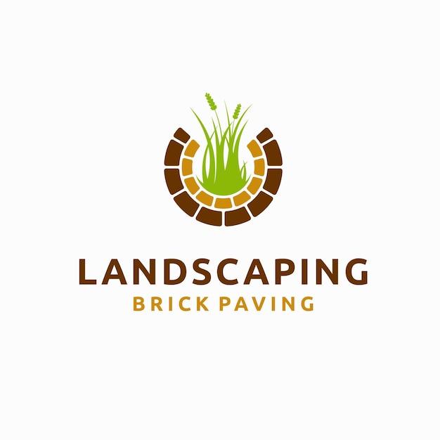 Logo krajobrazu z koncepcją kostki brukowej