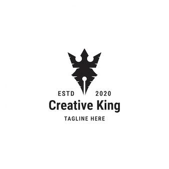 Logo kreatywnego króla. pióro, ołówek, korona, szablon projektu logo