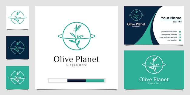 Logo kreatywnej planety oliwnej ze stylem grafiki liniowej i projektem wizytówki