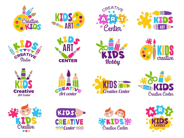 Logo kreatywnych dzieci. zajęcia z rękodzieła i malarstwa poświęcone kolekcji emblematów dziecięcych.