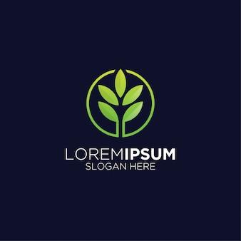 Logo kreatywnych liści rolnictwo nowoczesne