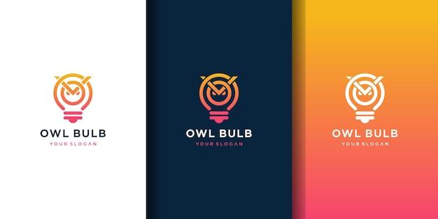 Logo kreatywnych pomysłów na żarówkę sowy