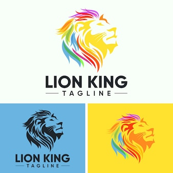 Logo kreatywnych streszczenie kolorowy lew głowy