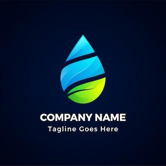 Logo kreatywnych streszczenie woda kropla na białym tle