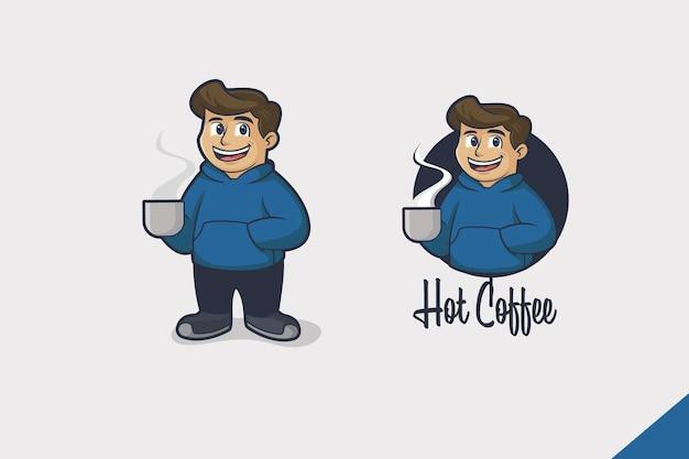 Logo kreskówka gorący napój