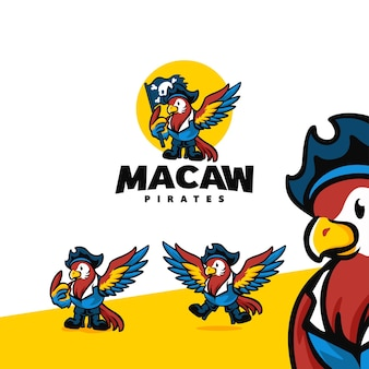 Logo kreskówka maskotka ara pirat znaków