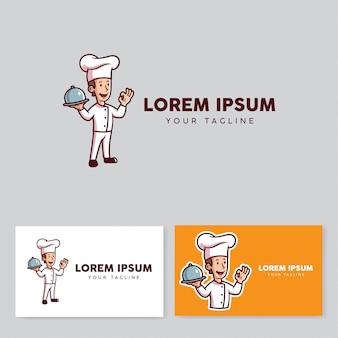 Logo kreskówka maskotka szefa kuchni w stylu retro