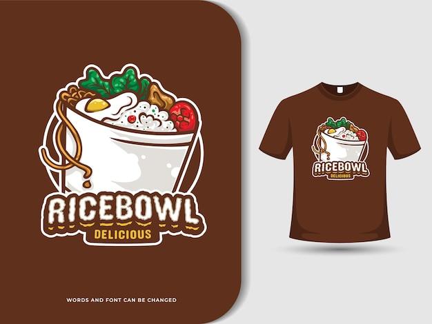 Logo kreskówka miska ryżu z edytowalnym tekstem i koszulką