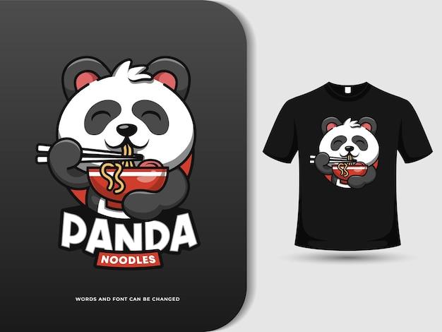Logo kreskówka panda jedząca makaron z edytowalnym tekstem i koszulką